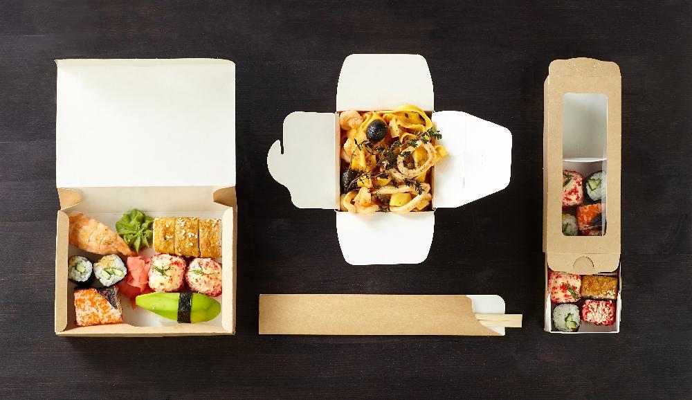 Popierinės dėžutės maisto išsinešimui